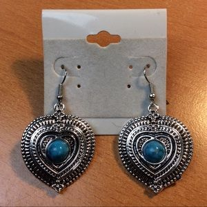 Jewelry - New Blue and Silver Heart Earrings